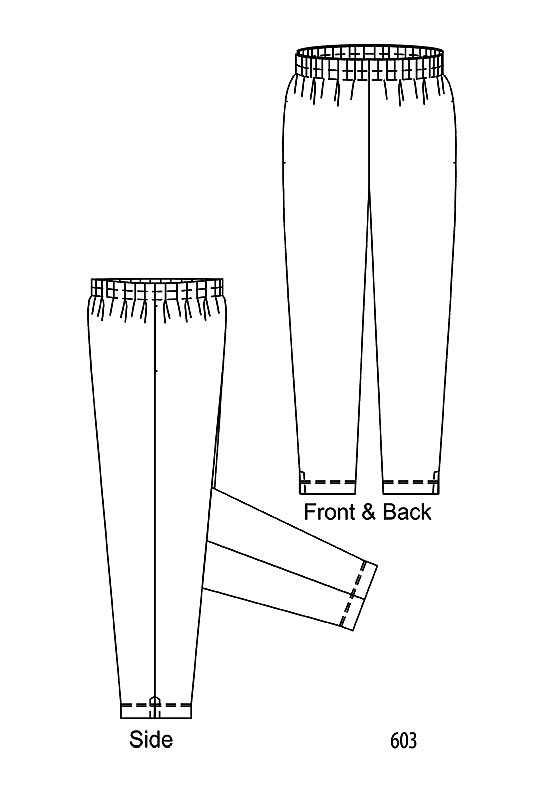 Line drawing Petite Plus Patterns 603, Tapered Pull-on Pant