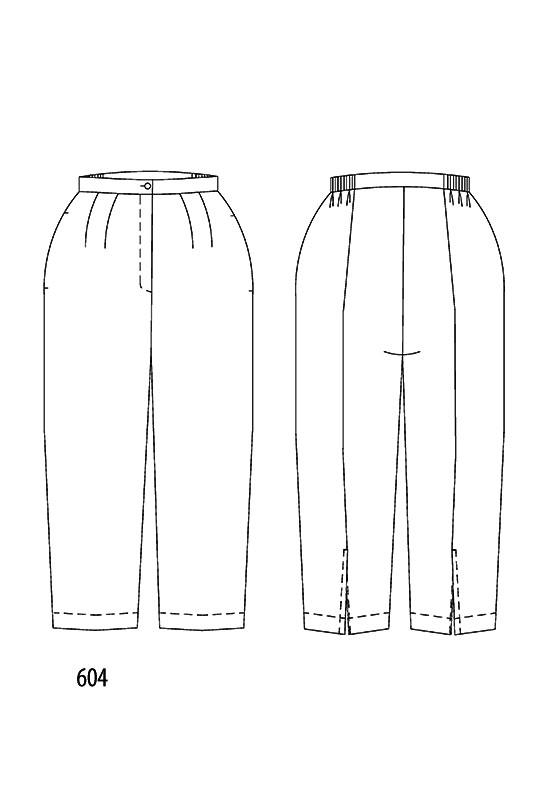 Line drawing, Petite Plus Patterns 604, Capri Pant