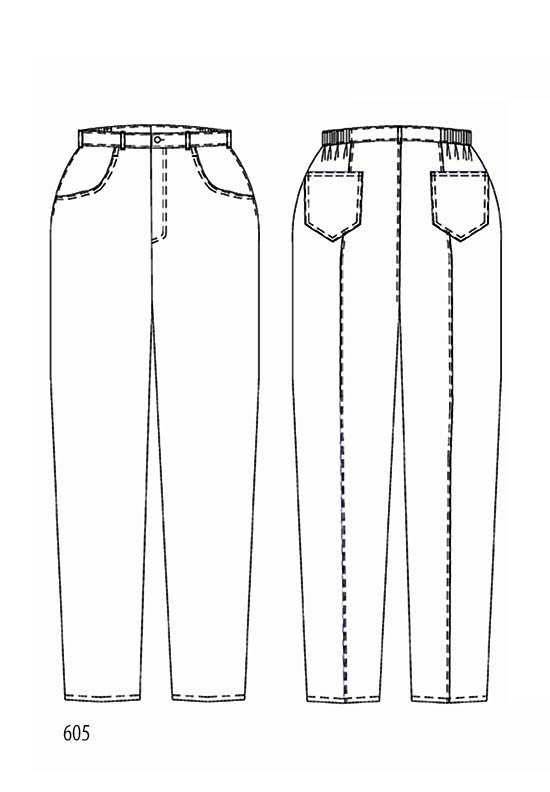 Line drawing, Petite Plus Patterns 605, Jeans