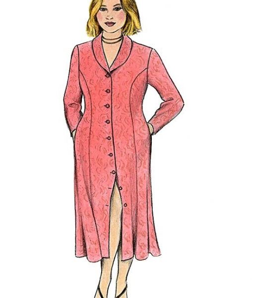 Illustration of Princess Seamed Dress View A - with long sleeves and collar - made from Petite Plus Patterns #302.