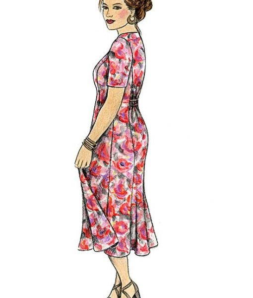 Illustration of Princess Seamed Dress, View B with short sleeves and gathered back - made from Petite Plus Patterns #302.
