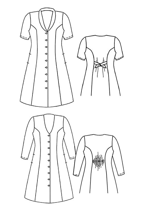 Line drawing of Petite Plus Patterns #302 Princess Seamed Dress