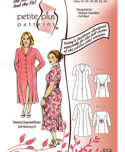 Pattern cover. Details of Petite Plus Patterns #302 Princess Seamed Dress