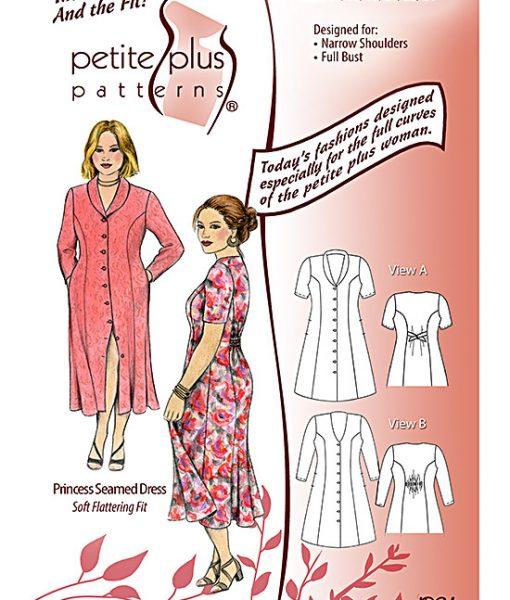 Pattern cover. Details of Petite Plus Patterns #302 Princess Seamed Dress