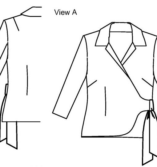 Line drawing of View A, Petite Plus Patterns 203, Wrap Jacket Blouse. Jacket with set-in, long sleeves, asymmetric tie closure.