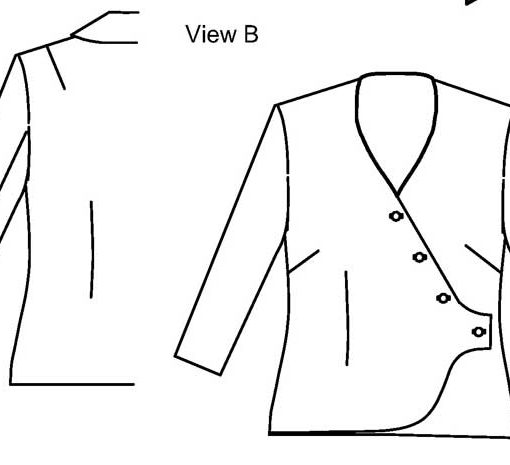 Line drawing of View B, Petite Plus Patterns 203, Wrap Jacket Blouse. Jacket with set-in, long sleeves, 4-button, asymmetric closure.
