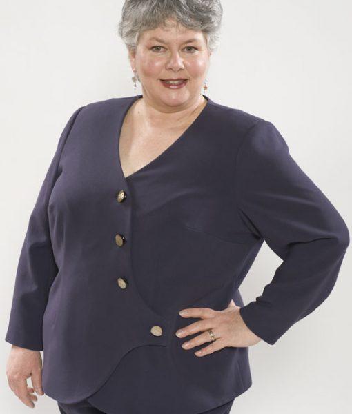 Four-button, asymmetric, jacket in lavender ponte, made from Petite Plus Patterns 203, Wrap Jacket Blouse, petite ladies size 22.