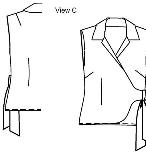 Line drawing of View A, Petite Plus Patterns 203, Wrap Jacket Blouse. Sleeveless blouse with collar and asymmetric tie closure.