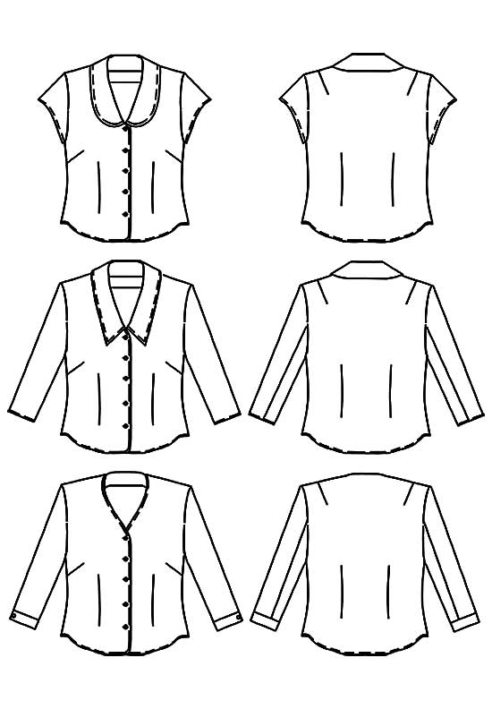 Line drawings of Petite Plus Patterns #106 Shapely Blouse in three versions