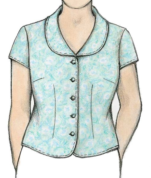 Illustration, Petite Plus Patterns 106 Shapely Blouse, View A with cap sleeves, 5-buttons, standard bust darts and rounded collar.