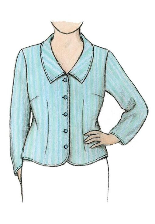 Petite Plus Patterns 106 Shapely Blouse View B Illustration with long sleeve and pointed collar.