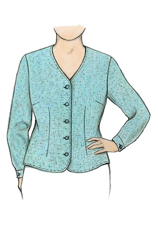 Petite Plus Patterns 106 Shapely Blouse View C Illustration with long sleeve and fast cuff.