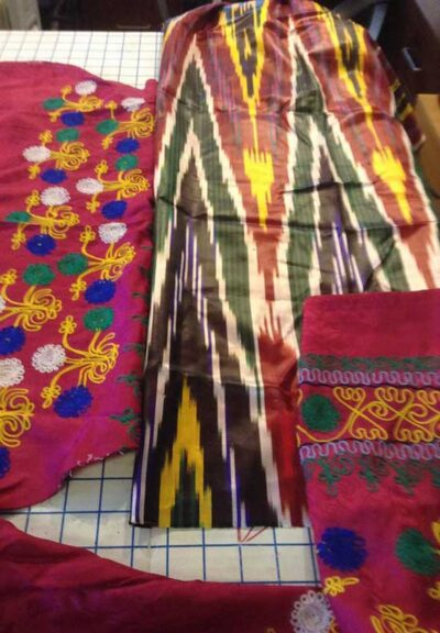 Ikat and embroidered silk fabric